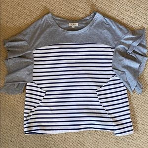 Umgee Grey shirt with Blue and White stripes